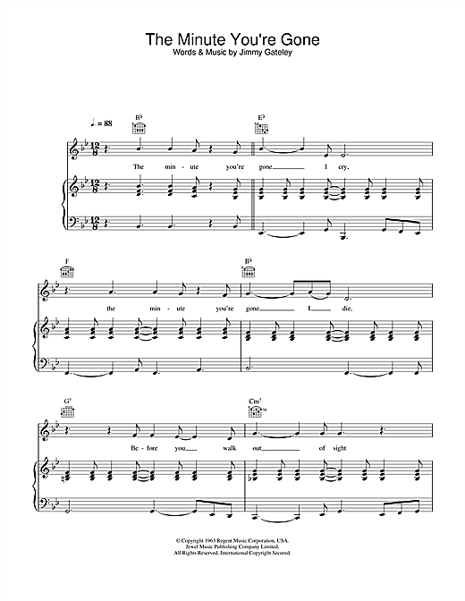 Cliff Richard The Minute You're Gone sheet music notes printable PDF score