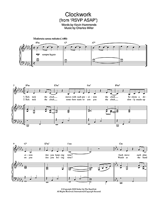 Charles Miller & Kevin Hammonds Clockwork (from RSVP ASAP) sheet music notes printable PDF score