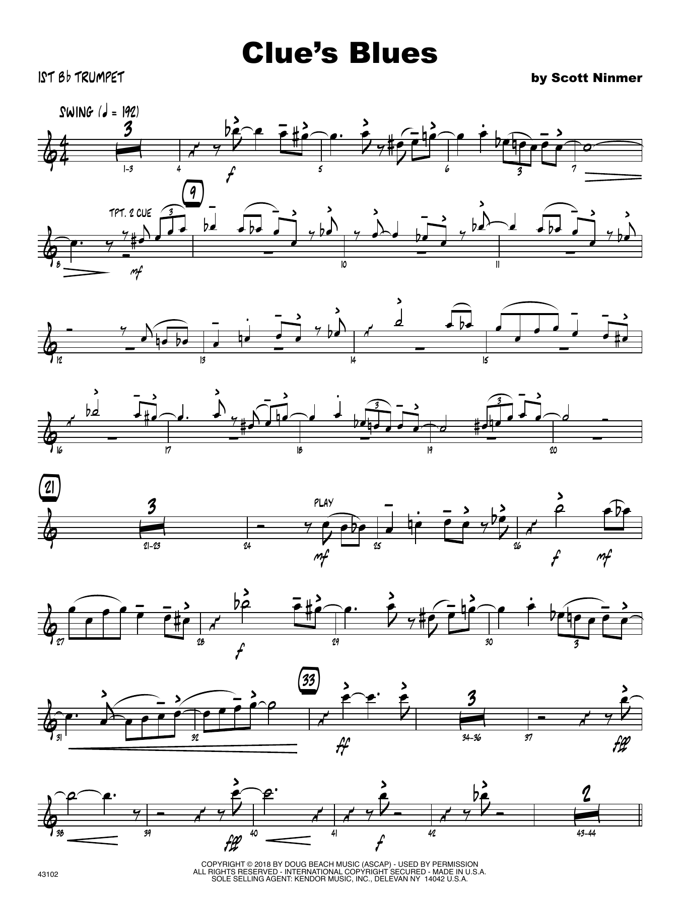 Scott Ninmer Clue's Blues - 1st Bb Trumpet sheet music notes printable PDF score