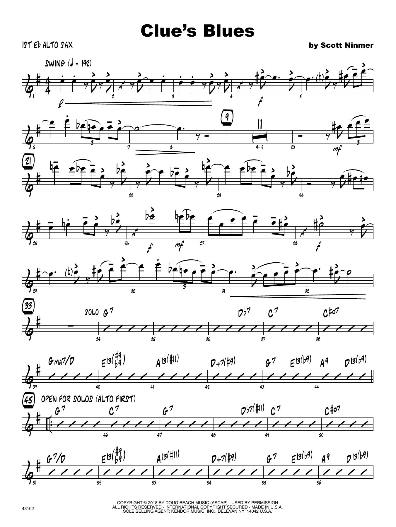 Scott Ninmer Clue's Blues - 1st Eb Alto Saxophone sheet music notes printable PDF score