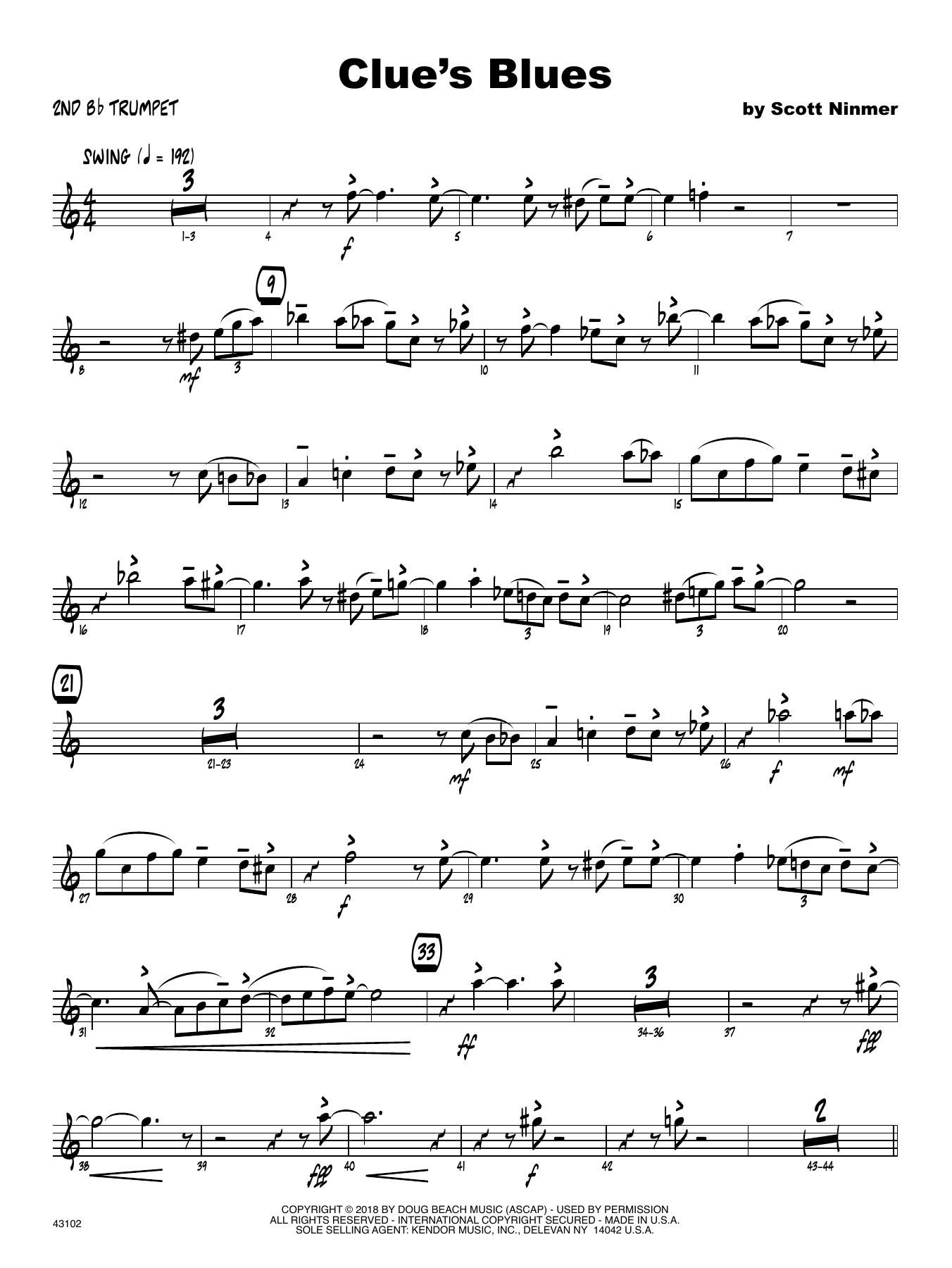 Scott Ninmer Clue's Blues - 2nd Bb Trumpet sheet music notes printable PDF score