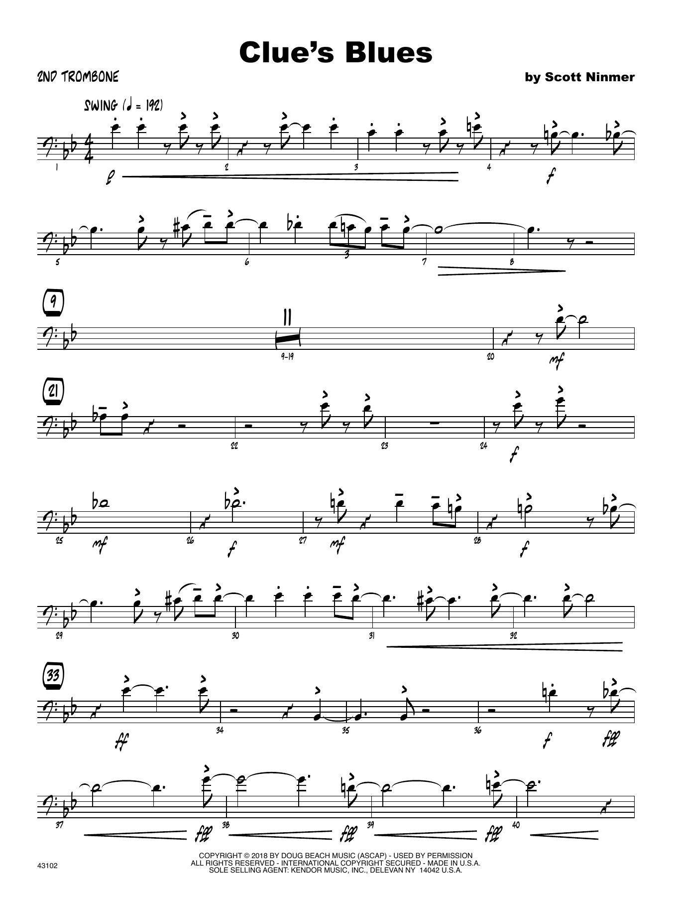 Scott Ninmer Clue's Blues - 2nd Trombone sheet music notes printable PDF score