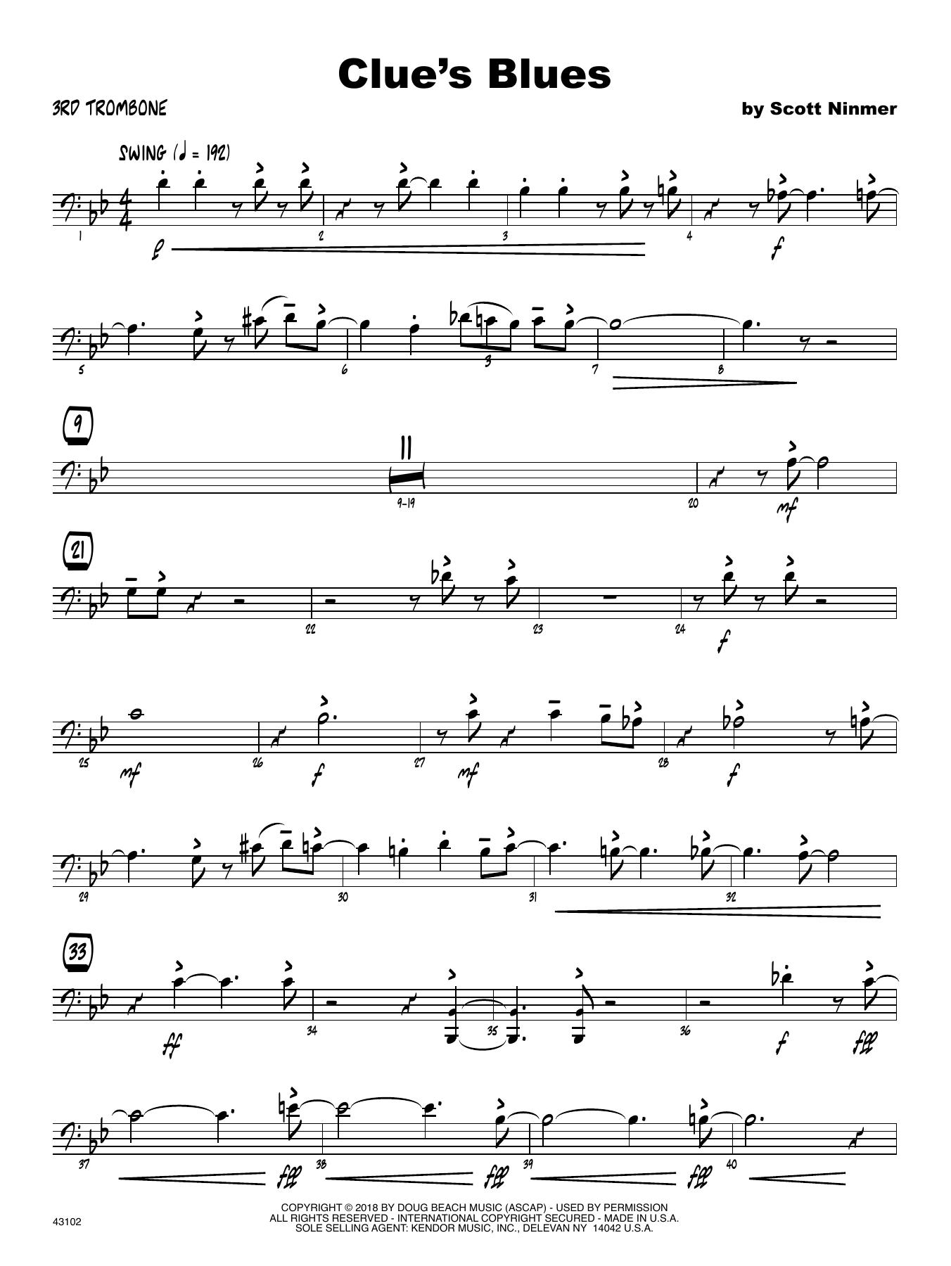 Scott Ninmer Clue's Blues - 3rd Trombone sheet music notes printable PDF score
