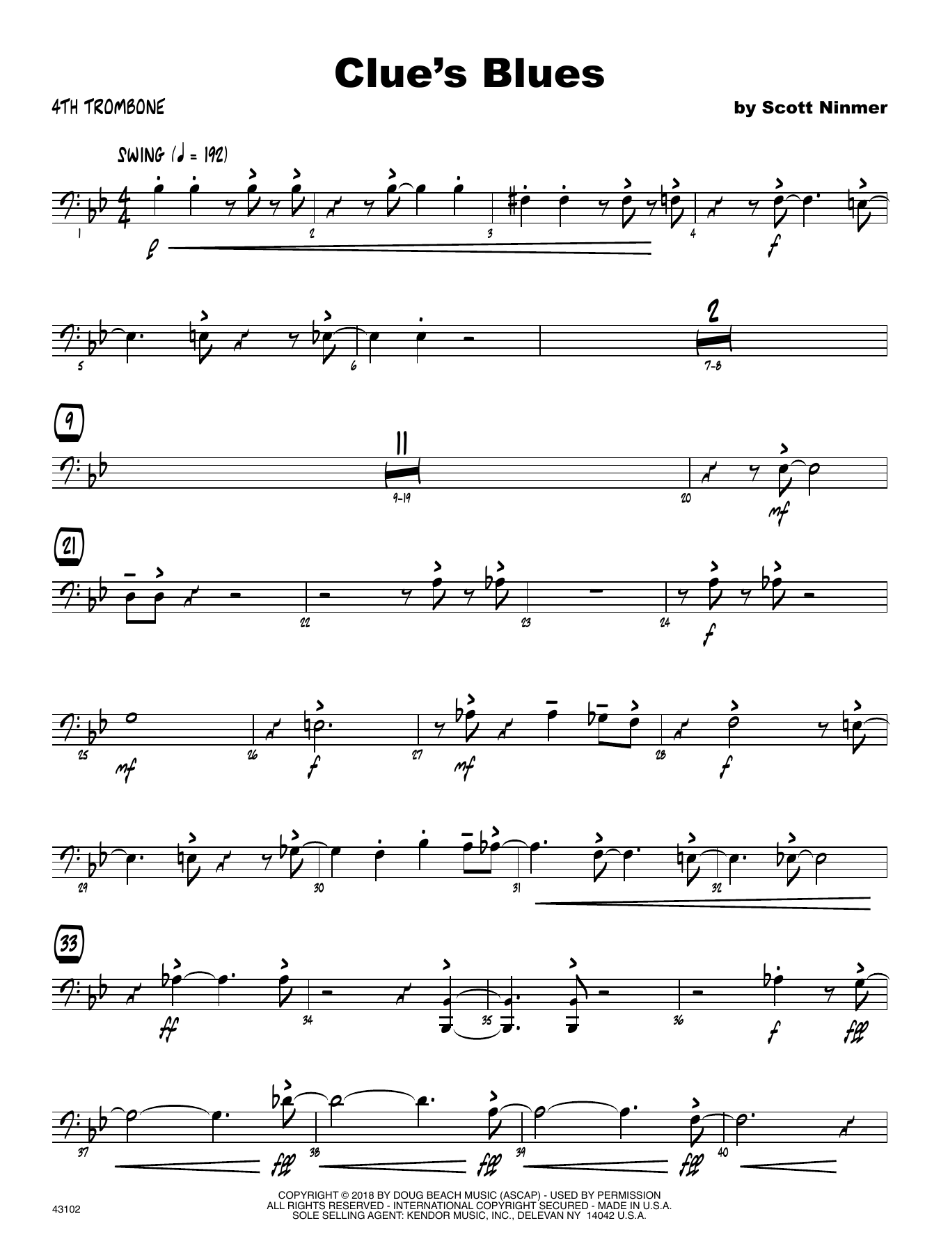 Scott Ninmer Clue's Blues - 4th Trombone sheet music notes printable PDF score