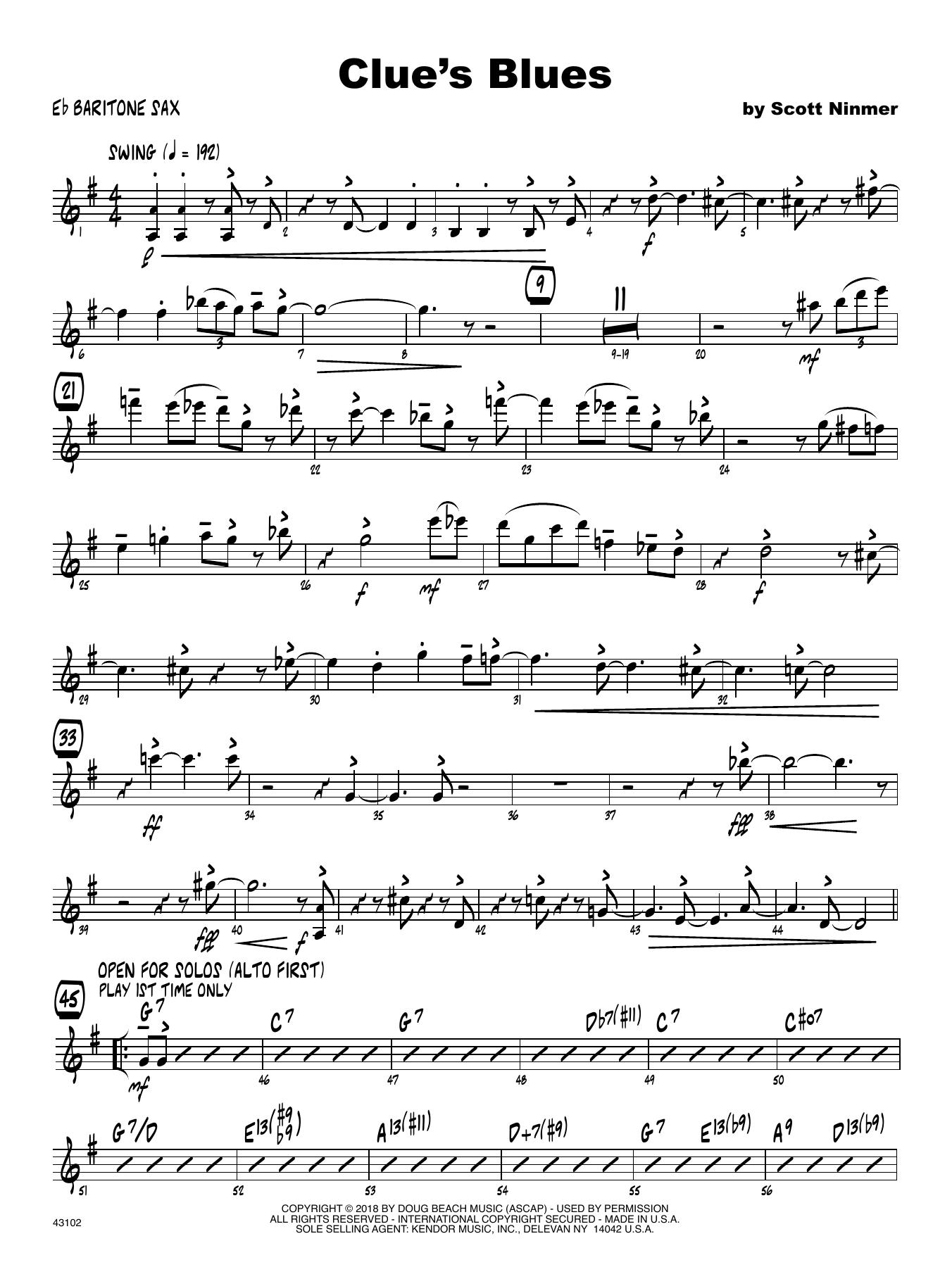 Scott Ninmer Clue's Blues - Eb Baritone Saxophone sheet music notes printable PDF score