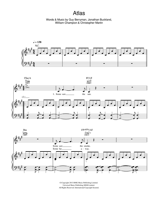 Coldplay Atlas sheet music notes and chords - download printable PDF.