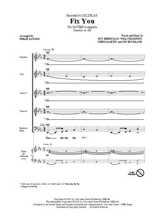Coldplay Fix You (arr. Philip Lawson) sheet music notes and chords. Download Printable PDF.