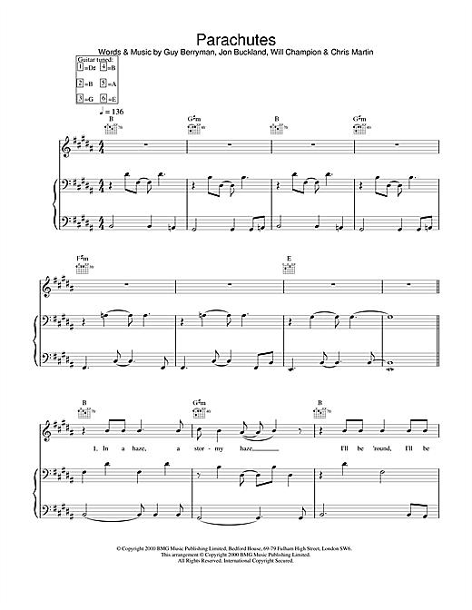 Coldplay Parachutes sheet music notes printable PDF score