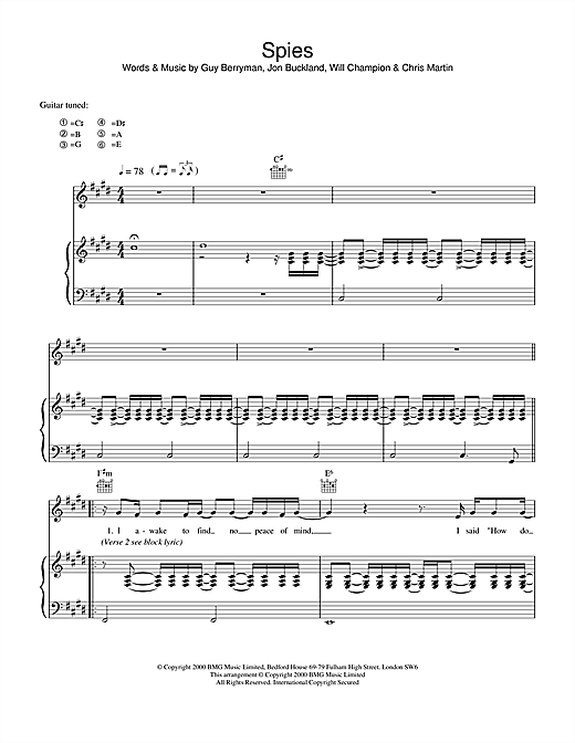 Coldplay Spies sheet music notes printable PDF score
