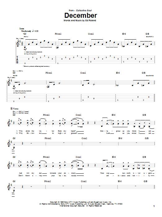Collective Soul December sheet music notes printable PDF score