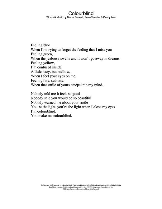 Darius Colourblind sheet music notes printable PDF score