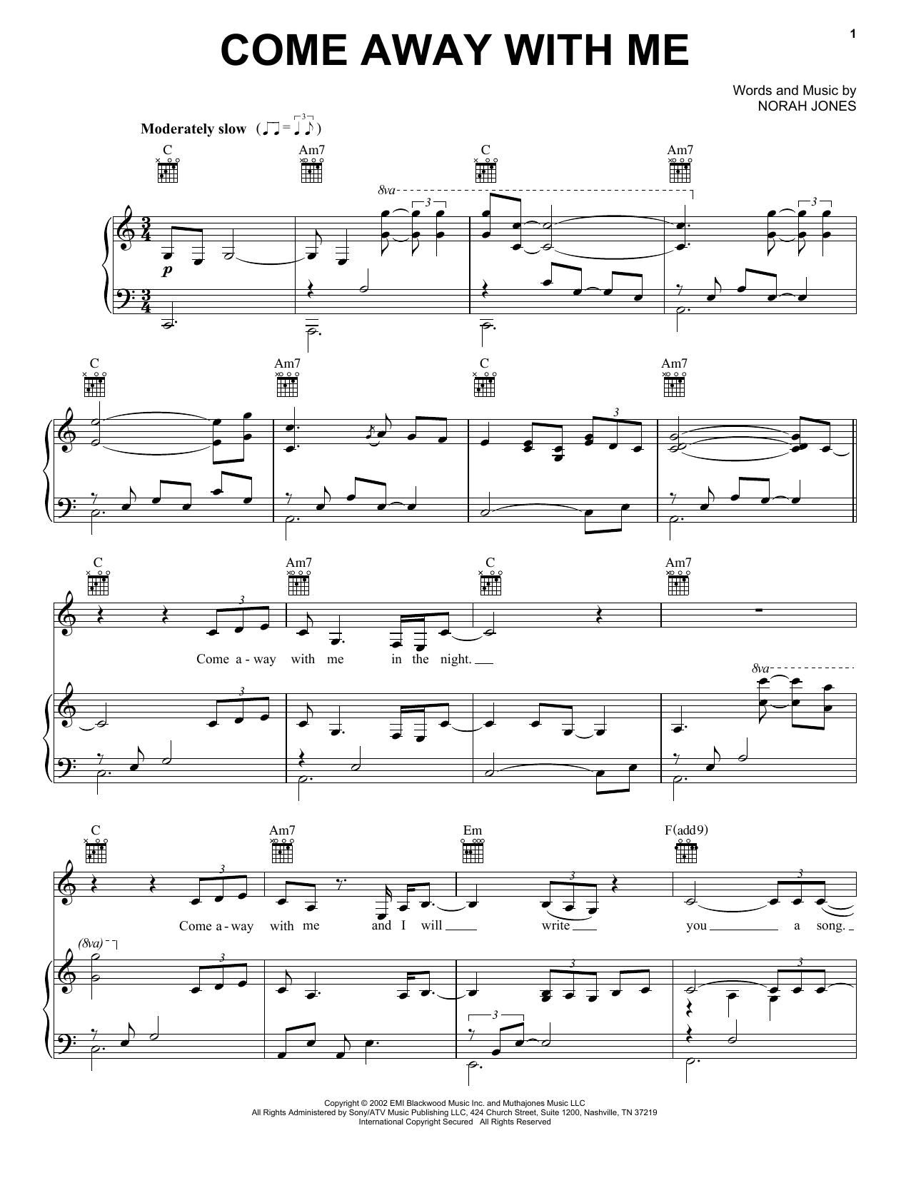 Norah Jones Come Away With Me sheet music notes printable PDF score