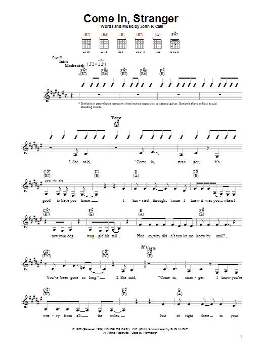 Johnny Cash Come In, Stranger sheet music notes printable PDF score