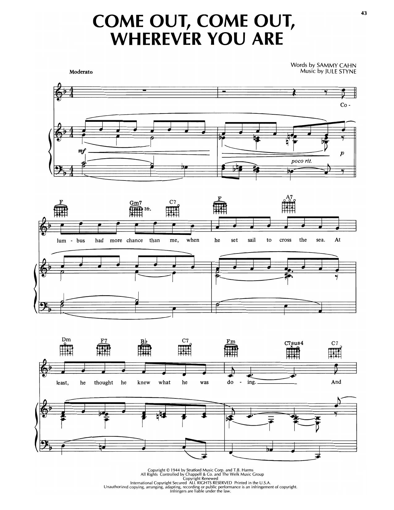 Sammy Cahn & Jule Styne Come Out, Come Out, Wherever You Are sheet music notes printable PDF score