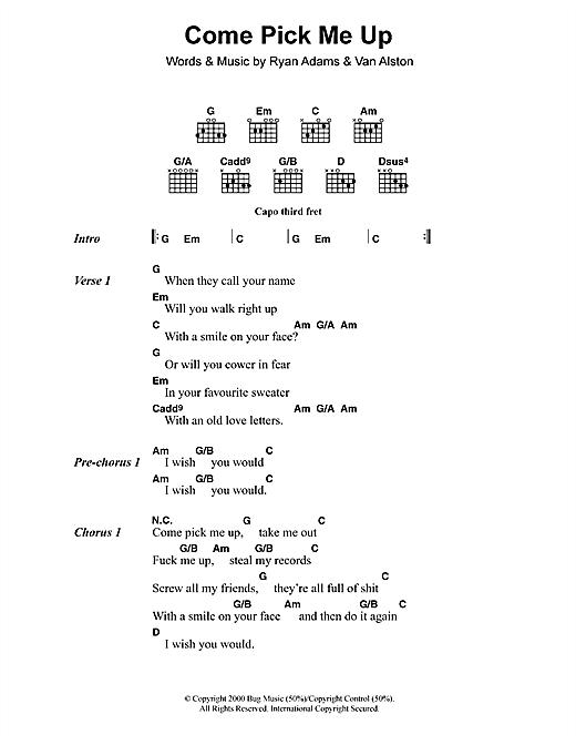 Ryan Adams Come Pick Me Up sheet music notes printable PDF score