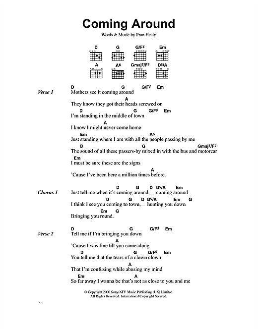 Travis Coming Around sheet music notes printable PDF score