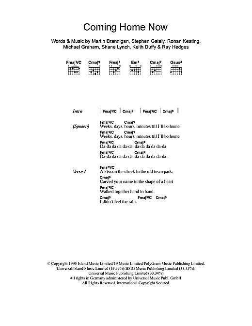 Boyzone Coming Home Now sheet music notes printable PDF score