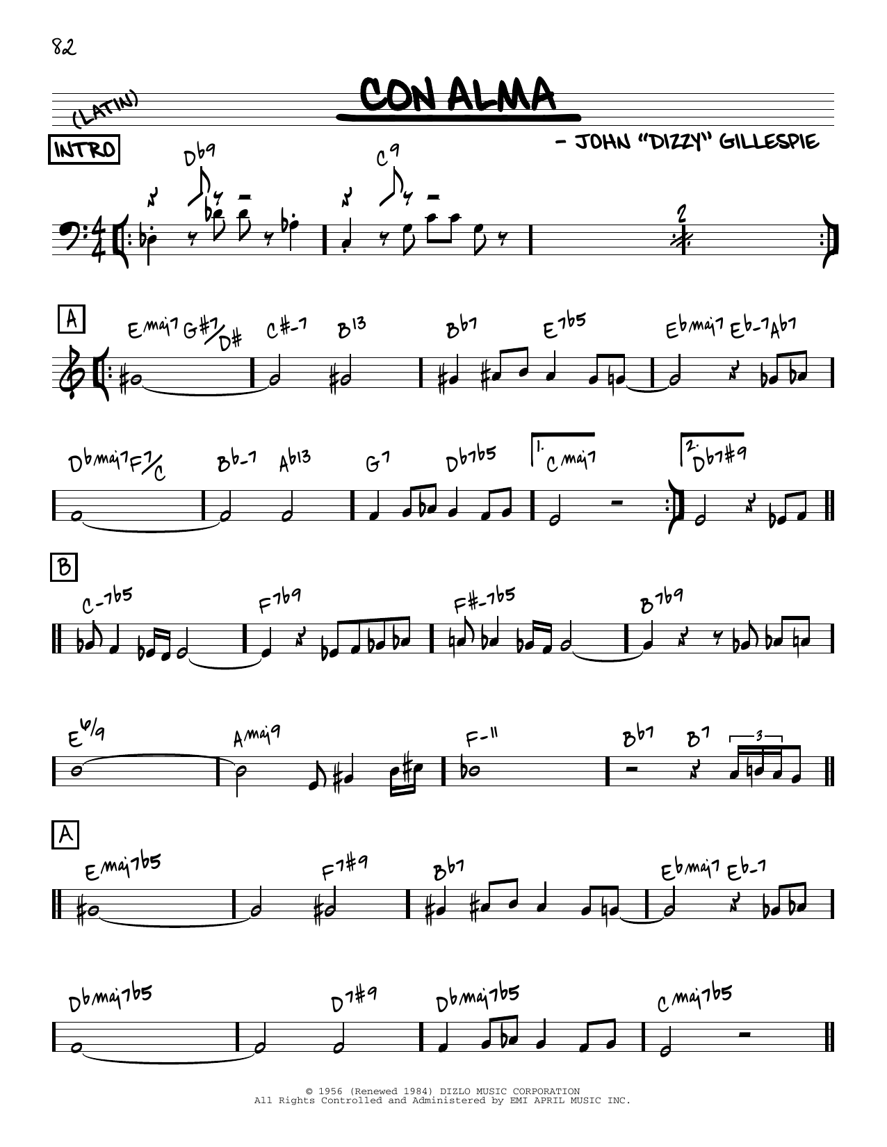 Dizzy Gillespie Con Alma [Reharmonized version] (arr. Jack Grassel) sheet music notes printable PDF score
