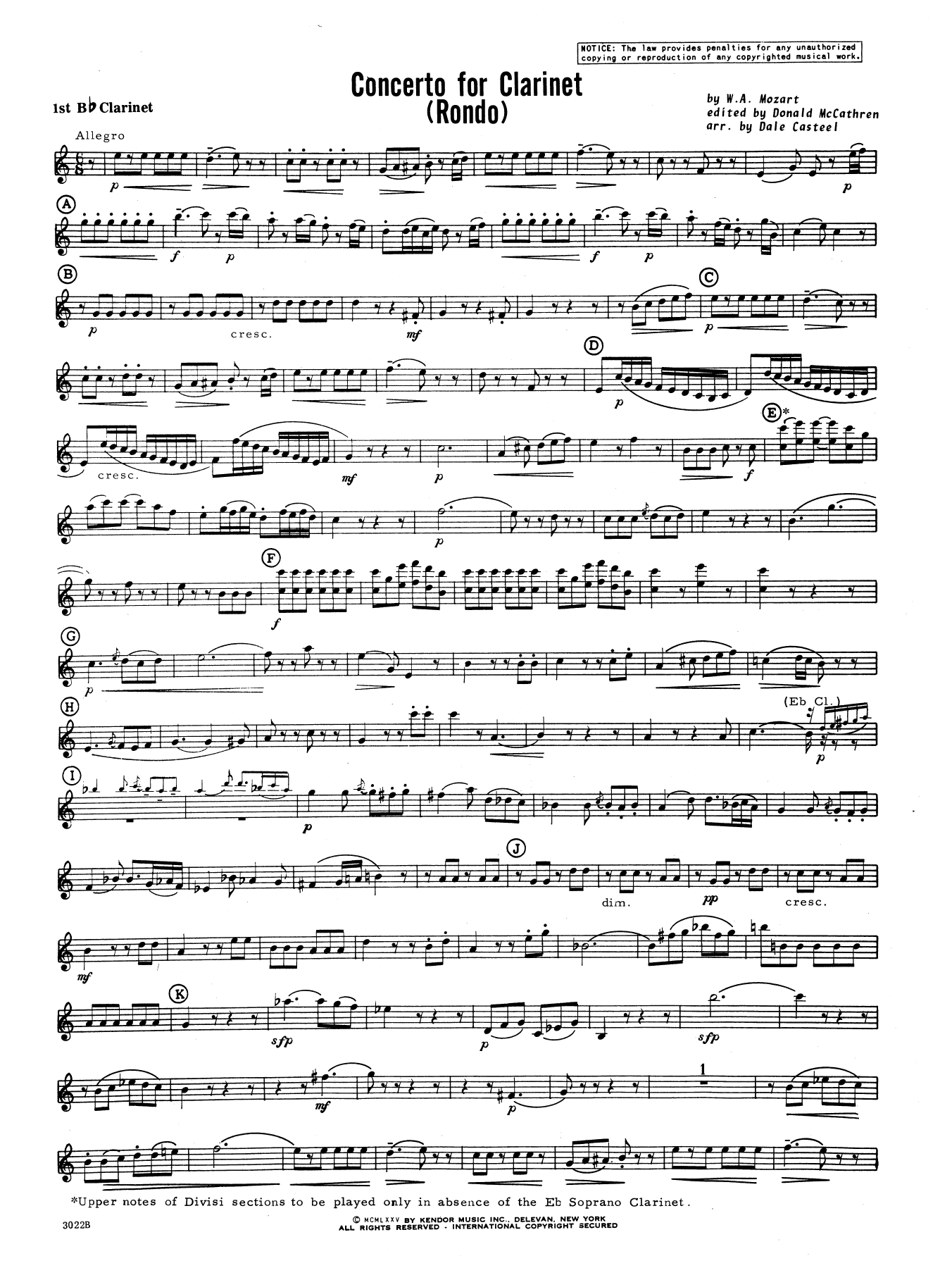 Donald McCathren and Dale Casteel Concerto For Clarinet - Rondo (3rd Movement) - K.622 - 1st Bb Clarinet sheet music notes printable PDF score