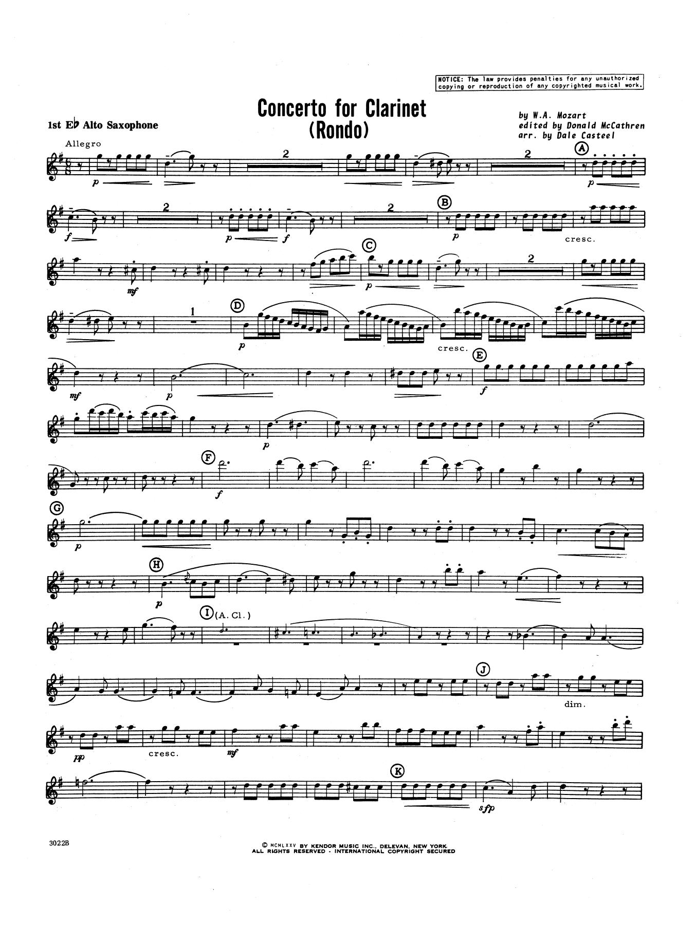 Donald McCathren and Dale Casteel Concerto For Clarinet - Rondo (3rd Movement) - K.622 - 1st Eb Alto Saxophone sheet music notes printable PDF score
