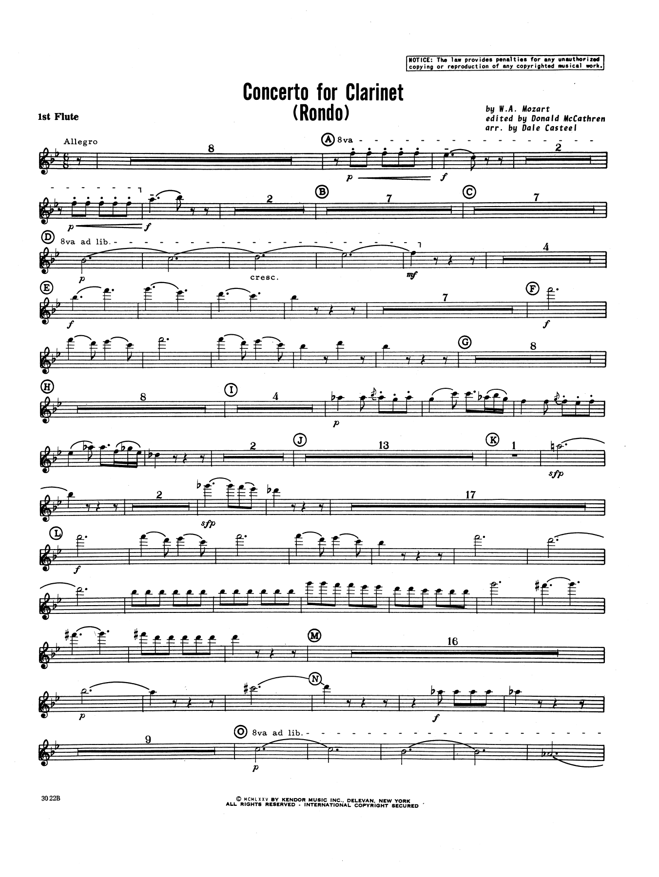 Donald McCathren and Dale Casteel Concerto For Clarinet - Rondo (3rd Movement) - K.622 - 1st Flute sheet music notes printable PDF score