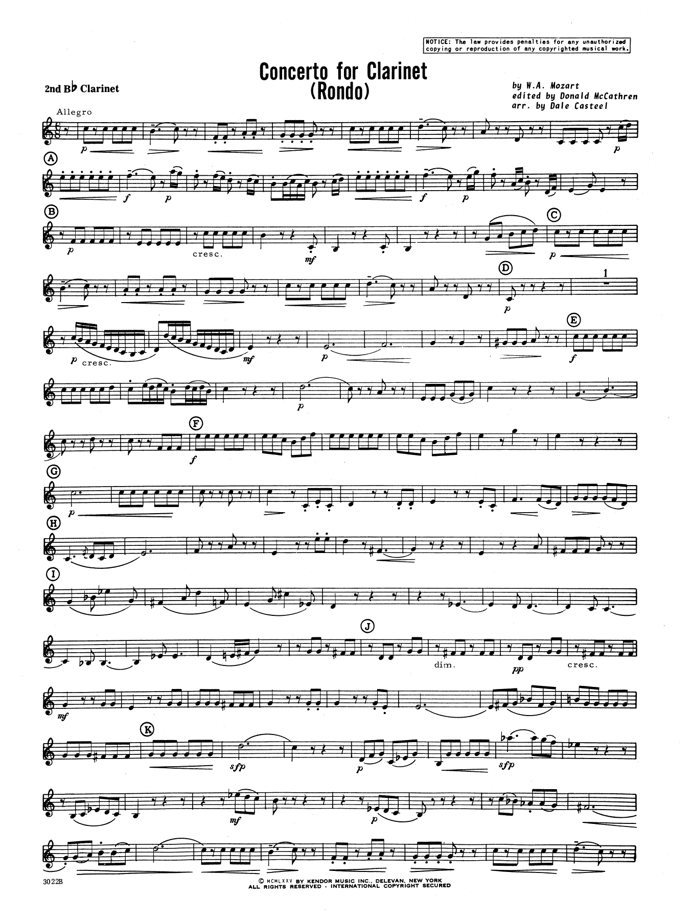 Donald McCathren and Dale Casteel Concerto For Clarinet - Rondo (3rd Movement) - K.622 - 2nd Bb Clarinet sheet music notes printable PDF score