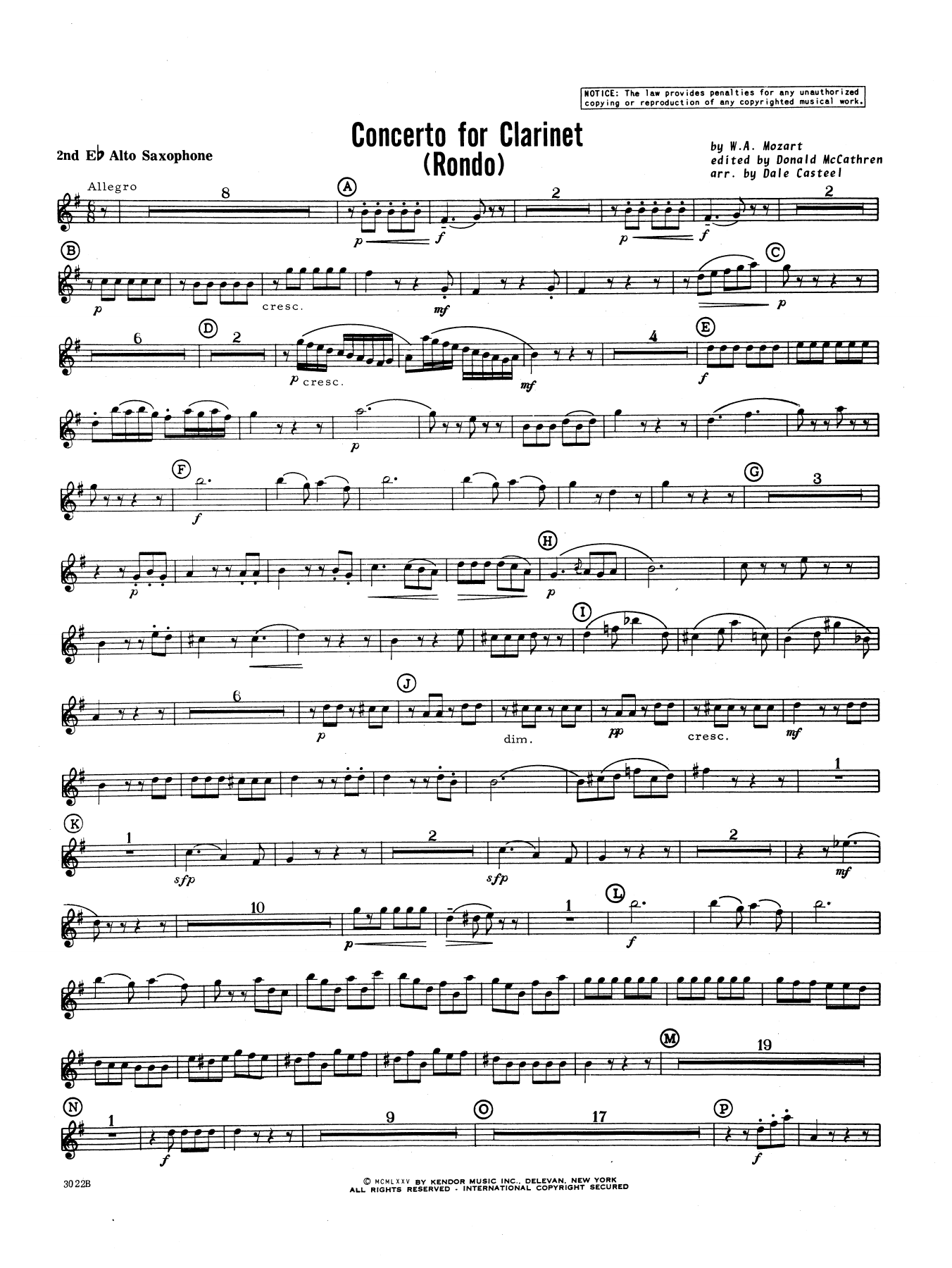Donald McCathren and Dale Casteel Concerto For Clarinet - Rondo (3rd Movement) - K.622 - 2nd Eb Alto Saxophone sheet music notes printable PDF score