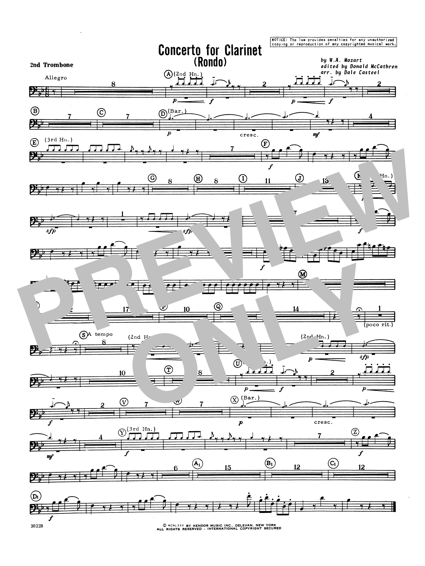 Donald McCathren and Dale Casteel Concerto For Clarinet - Rondo (3rd Movement) - K.622 - 2nd Trombone sheet music notes printable PDF score