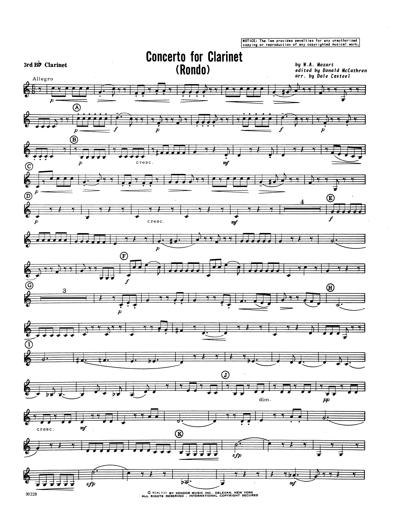 Donald McCathren and Dale Casteel Concerto For Clarinet - Rondo (3rd Movement) - K.622 - 3rd Bb Clarinet sheet music notes printable PDF score