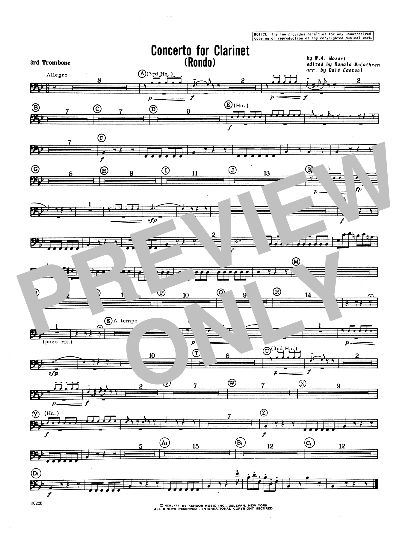 Donald McCathren and Dale Casteel Concerto For Clarinet - Rondo (3rd Movement) - K.622 - 3rd Trombone sheet music notes printable PDF score
