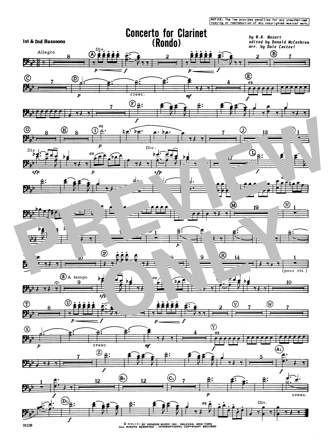 Donald McCathren and Dale Casteel Concerto For Clarinet - Rondo (3rd Movement) - K.622 - Bassoon sheet music notes printable PDF score