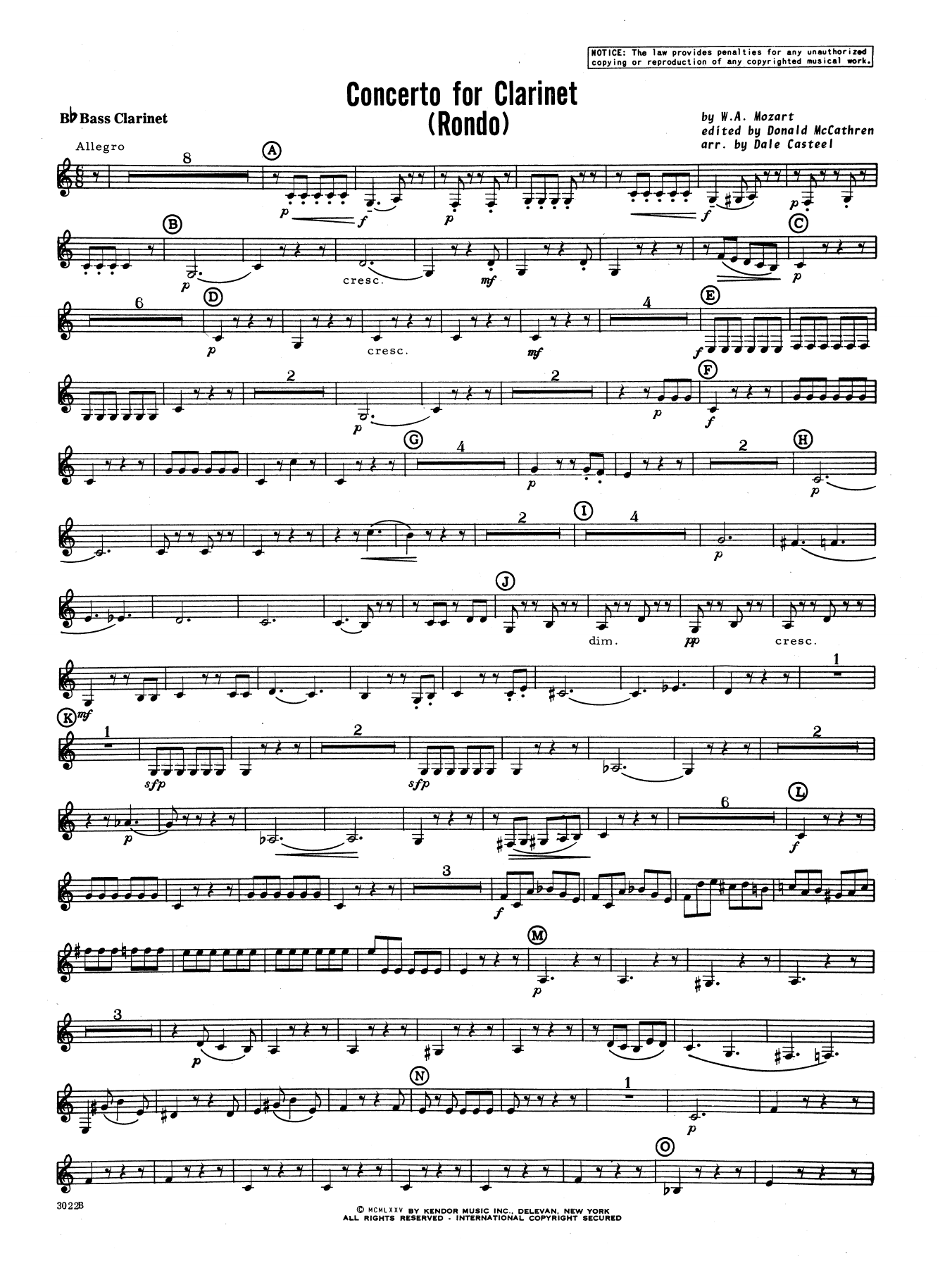 Donald McCathren and Dale Casteel Concerto For Clarinet - Rondo (3rd Movement) - K.622 - Bb Bass Clarinet sheet music notes printable PDF score