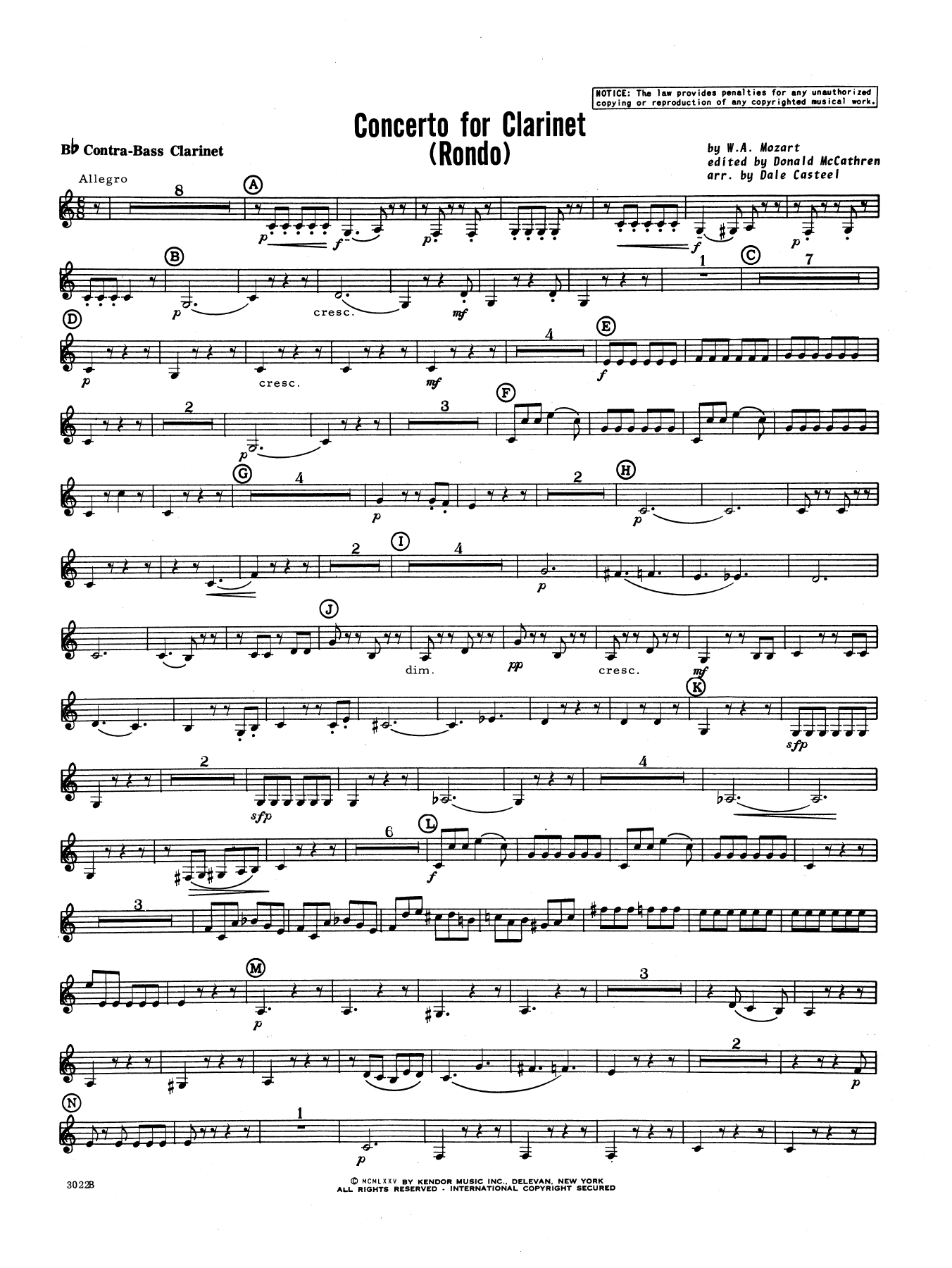 Donald McCathren and Dale Casteel Concerto For Clarinet - Rondo (3rd Movement) - K.622 - Bb Contra Bass Clarinet sheet music notes printable PDF score