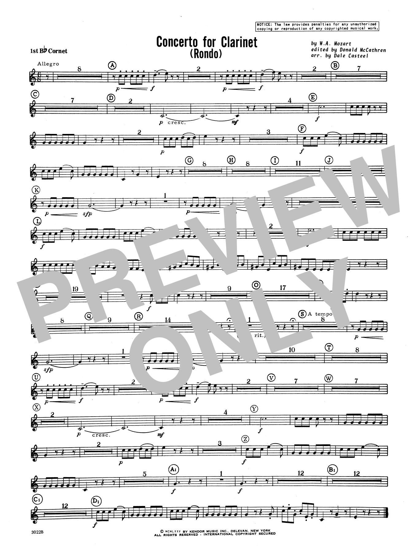 Donald McCathren and Dale Casteel Concerto For Clarinet - Rondo (3rd Movement) - K.622 - Cornet 1 sheet music notes printable PDF score