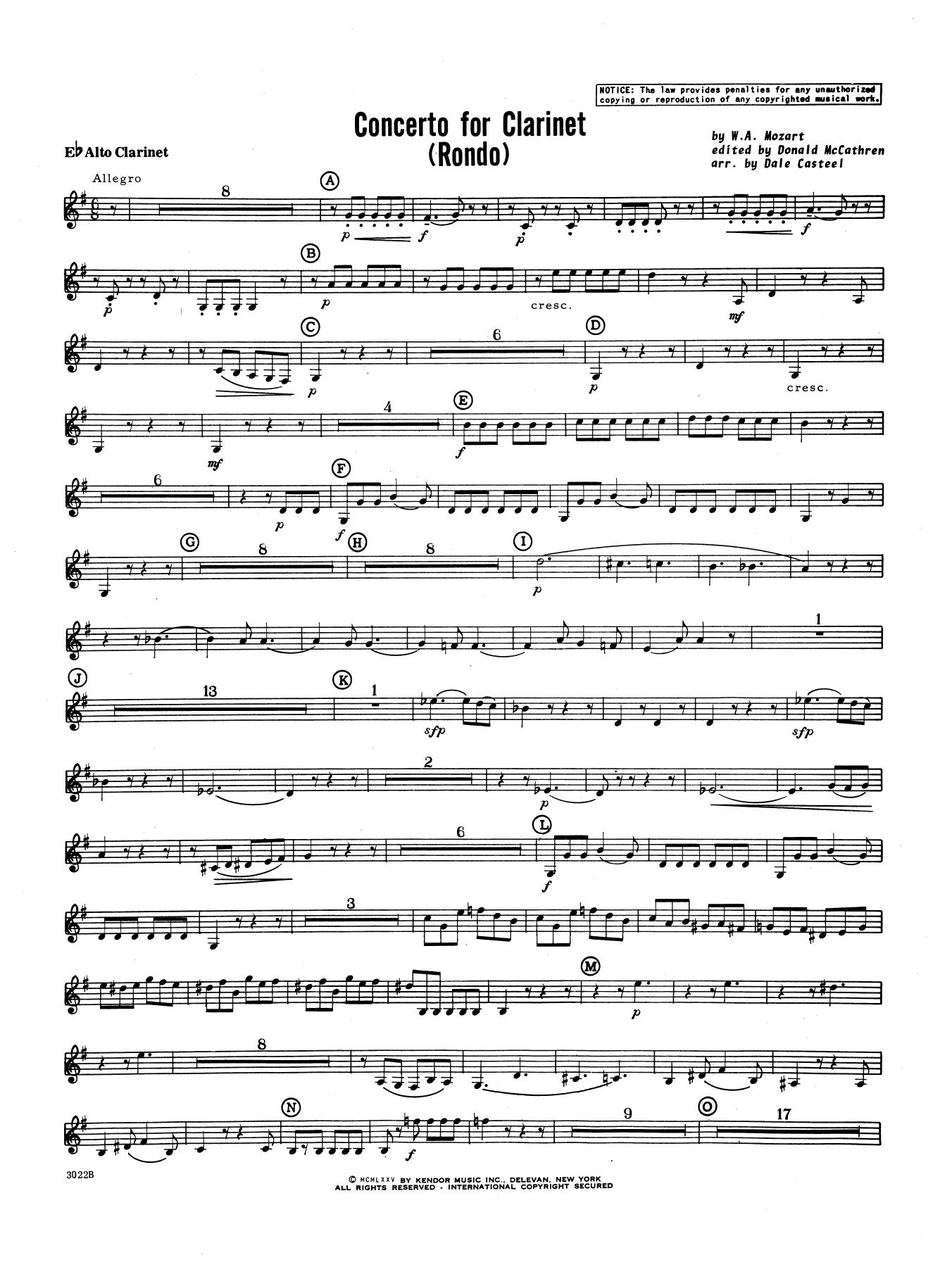 Donald McCathren and Dale Casteel Concerto For Clarinet - Rondo (3rd Movement) - K.622 - Eb Alto Clarinet sheet music notes printable PDF score