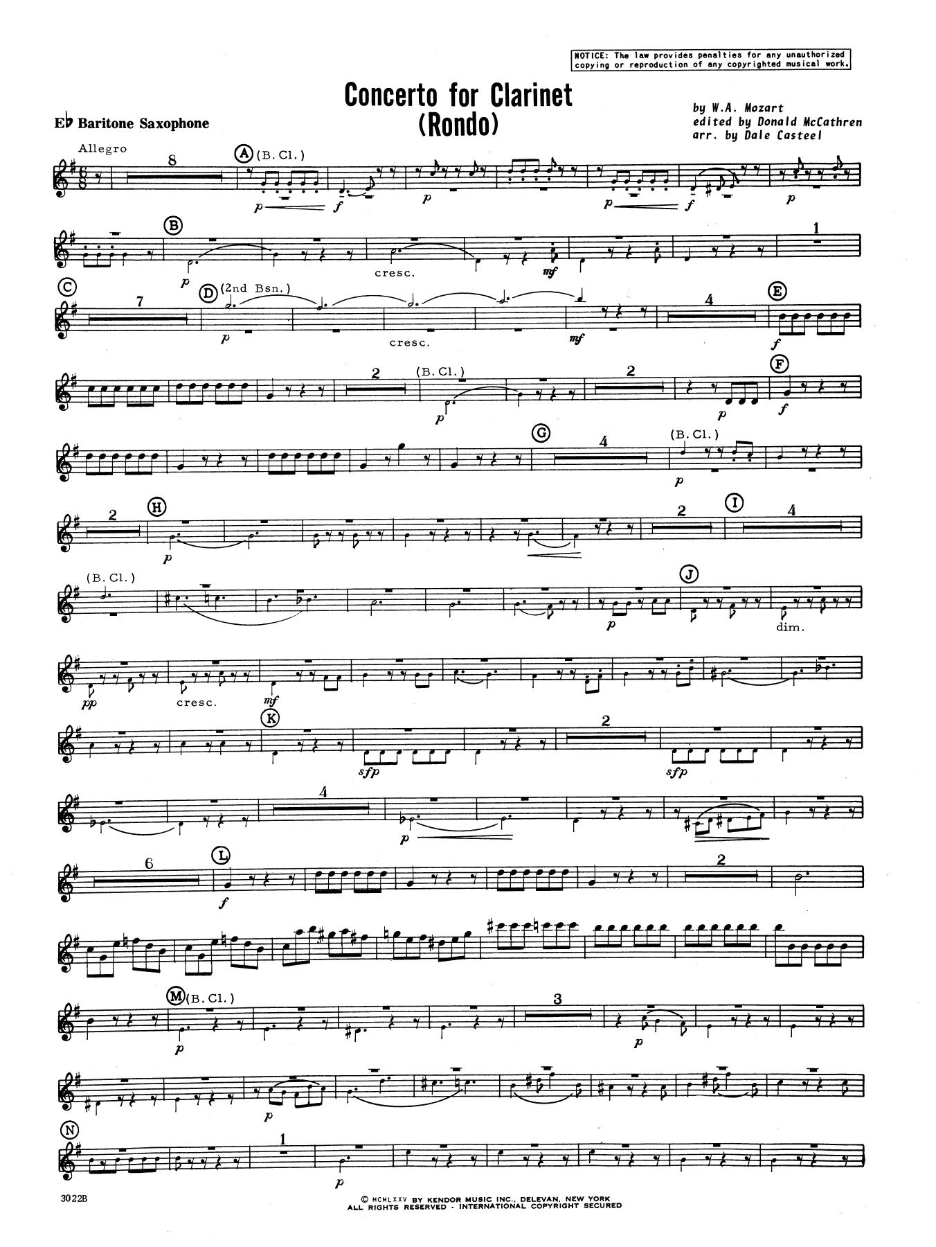 Donald McCathren and Dale Casteel Concerto For Clarinet - Rondo (3rd Movement) - K.622 - Eb Baritone Saxophone sheet music notes printable PDF score