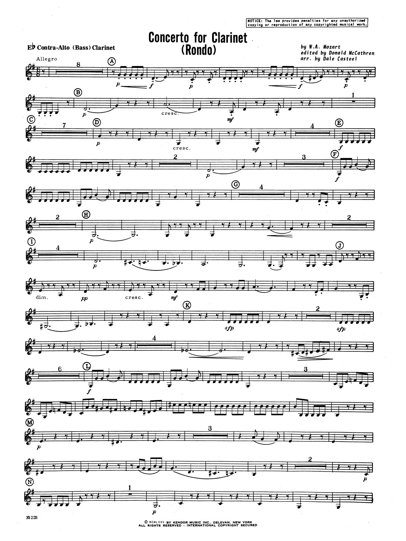 Donald McCathren and Dale Casteel Concerto For Clarinet - Rondo (3rd Movement) - K.622 - Eb Contra Alto Clarinet sheet music notes printable PDF score