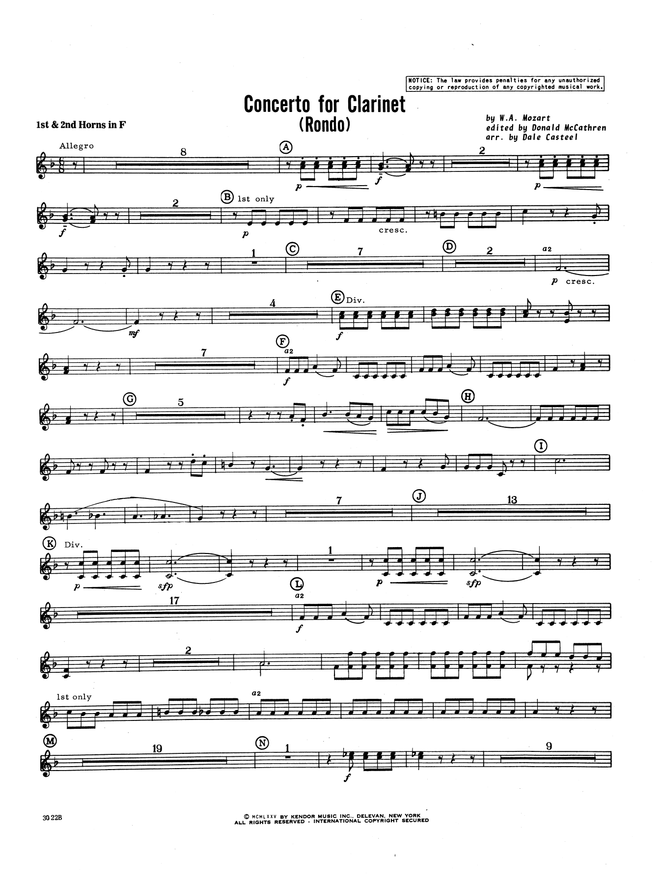 Donald McCathren and Dale Casteel Concerto For Clarinet - Rondo (3rd Movement) - K.622 - Horn 1 & 2 sheet music notes printable PDF score