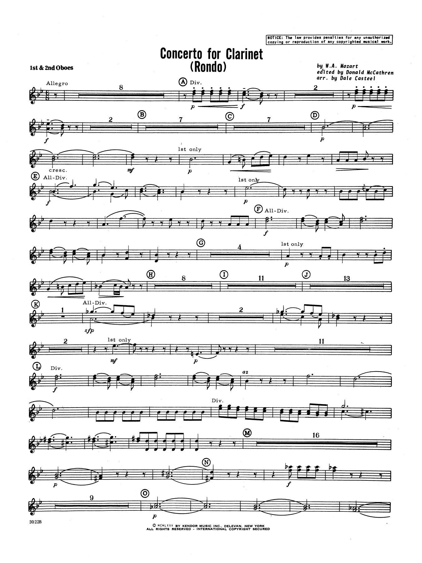 Donald McCathren and Dale Casteel Concerto For Clarinet - Rondo (3rd Movement) - K.622 - Oboe sheet music notes printable PDF score