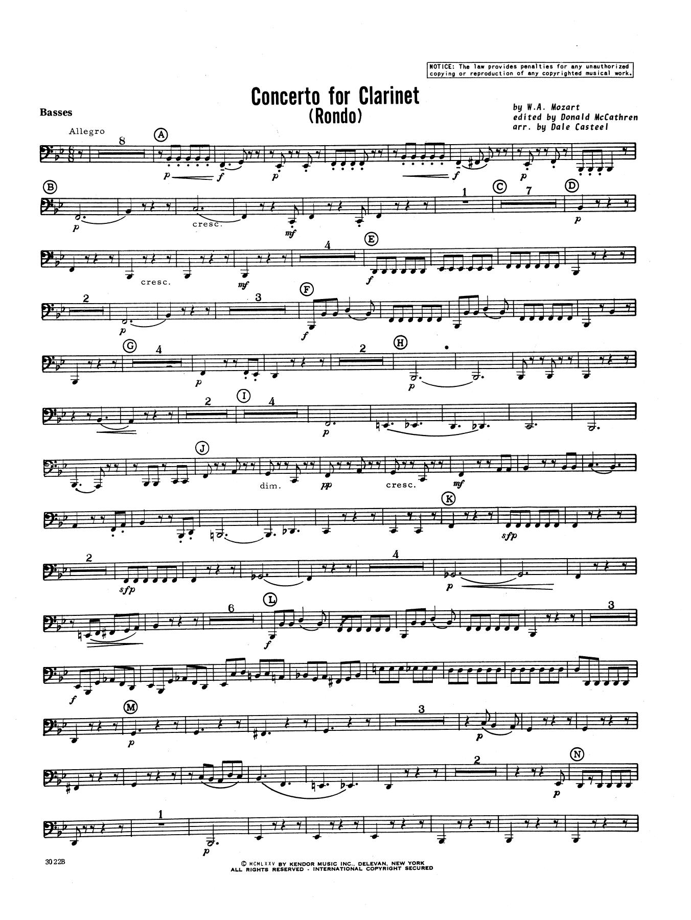 Donald McCathren and Dale Casteel Concerto For Clarinet - Rondo (3rd Movement) - K.622 - Tuba sheet music notes printable PDF score