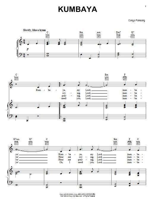 Congan Folksong Kumbaya sheet music notes and chords. Download Printable PDF.
