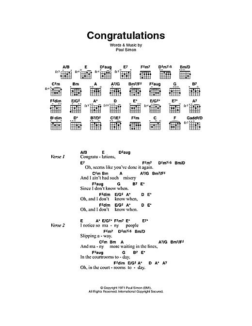 Paul Simon Congratulations sheet music notes printable PDF score
