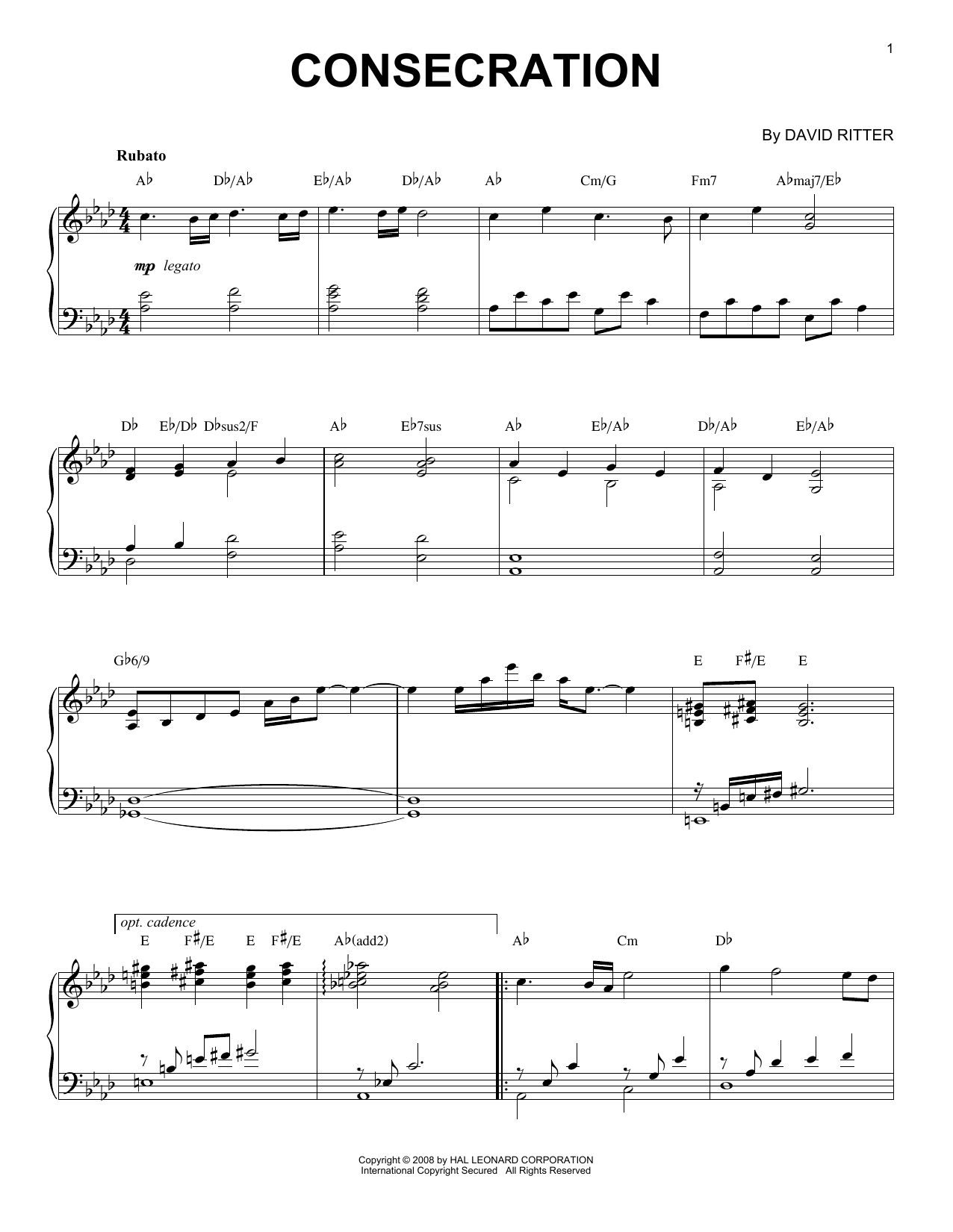 David Ritter Consecration sheet music notes printable PDF score
