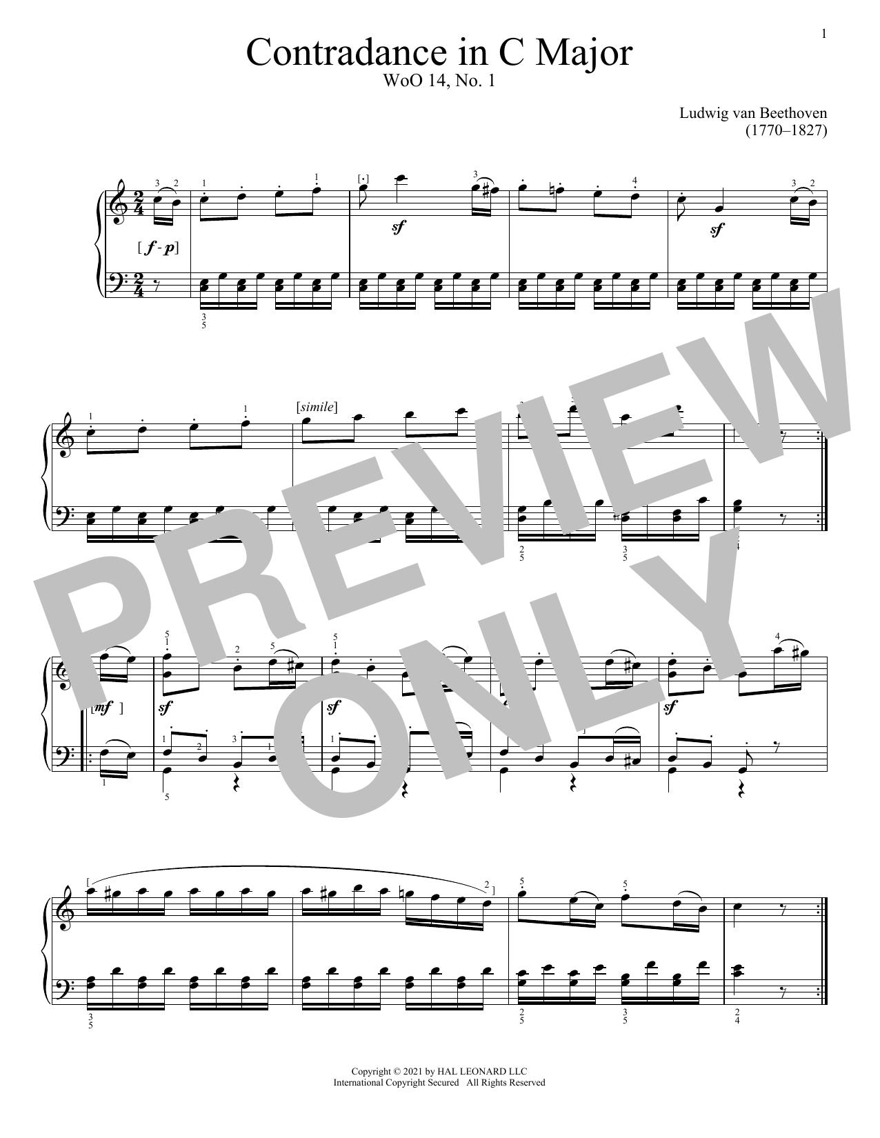 Ludwig van Beethoven Contredance In C Major, WoO 14, No. 1 sheet music notes printable PDF score