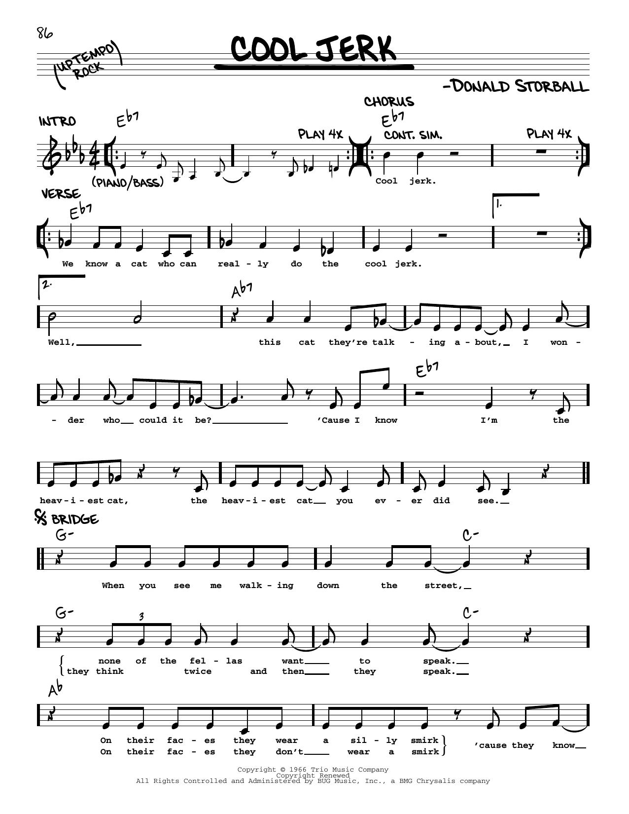 Capitols Cool Jerk sheet music notes printable PDF score