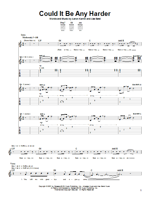 The Calling Could It Be Any Harder sheet music notes printable PDF score