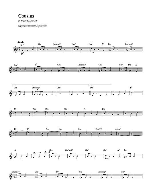 Angelo Badalamenti Cousins sheet music notes printable PDF score