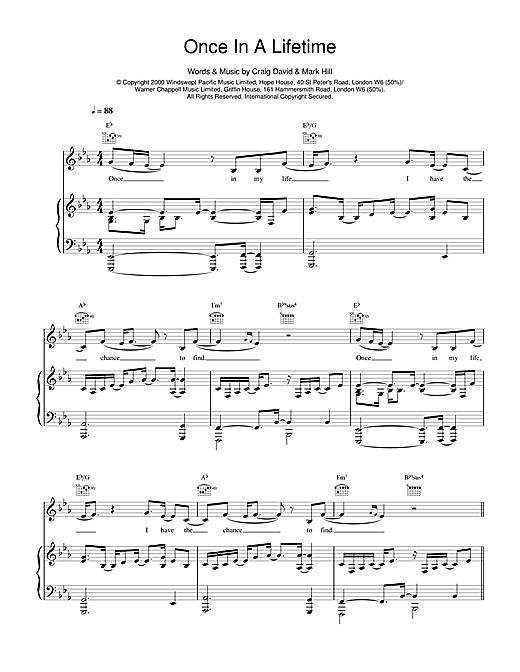 Craig David Once In A Lifetime sheet music notes printable PDF score