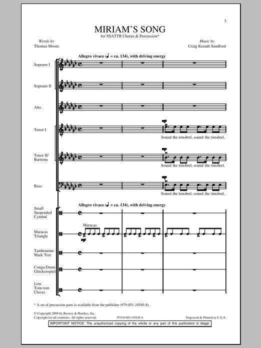 Craig Kenath Sandford Miriam's Song sheet music notes and chords. Download Printable PDF.