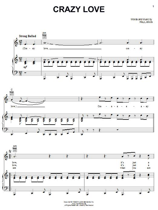 Paul Anka Crazy Love sheet music notes printable PDF score
